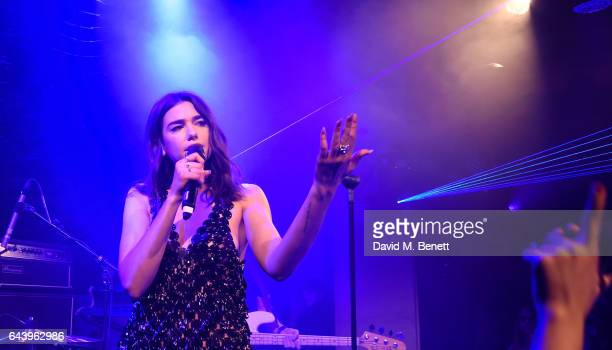 Dua Lipa attends The Warner Music Ciroc Brit Awards After Party on February 22 2017 in London England