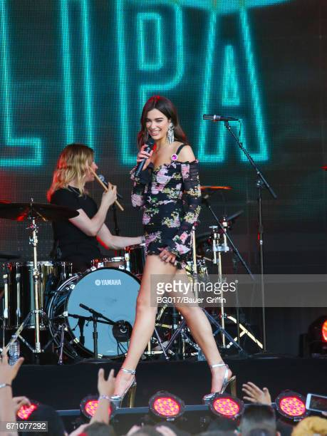Dua Lipa is seen at 'Jimmy Kimmel Live' on April 20 2017 in Los Angeles California