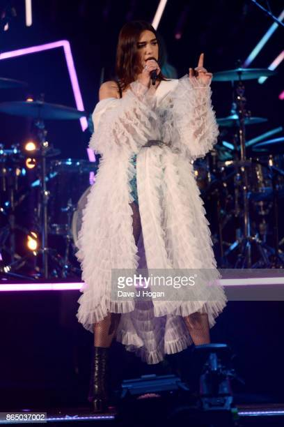 Dua Lipa performs on stage at the BBC Radio 1 Teen Awards 2017 at Wembley Arena on October 22 2017 in London England