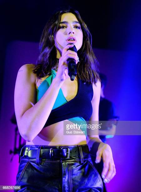 Dua Lipa performs on stage at the O2 Shepherd's Bush on April 13 in London United Kingdom