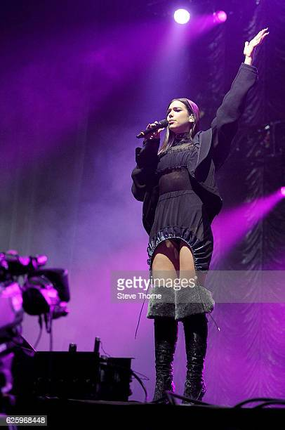 Dua Lipa performs on stage during Free Radio Live 2016 at the Genting Arena on November 26 2016 in Birmingham United Kingdom