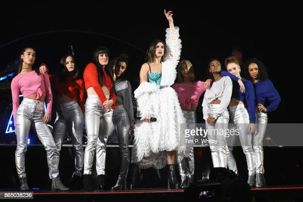Dua Lipa performs on stage during the BBC Radio 1 Teen Awards 2017 at Wembley Arena on October 22 2017 in London England