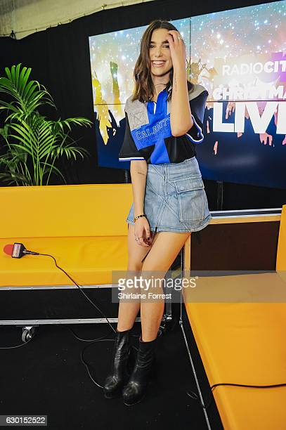 Dua Lipa poses backstage at Radio City Christmas Live at Echo Arena on December 17 2016 in Liverpool England