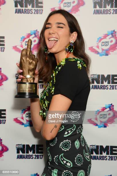 Dua Lipa poses with her award for Best New Artist in the winners room at the VO5 NME Awards 2017 at The O2 Academy Brixton on February 15 2017 in...