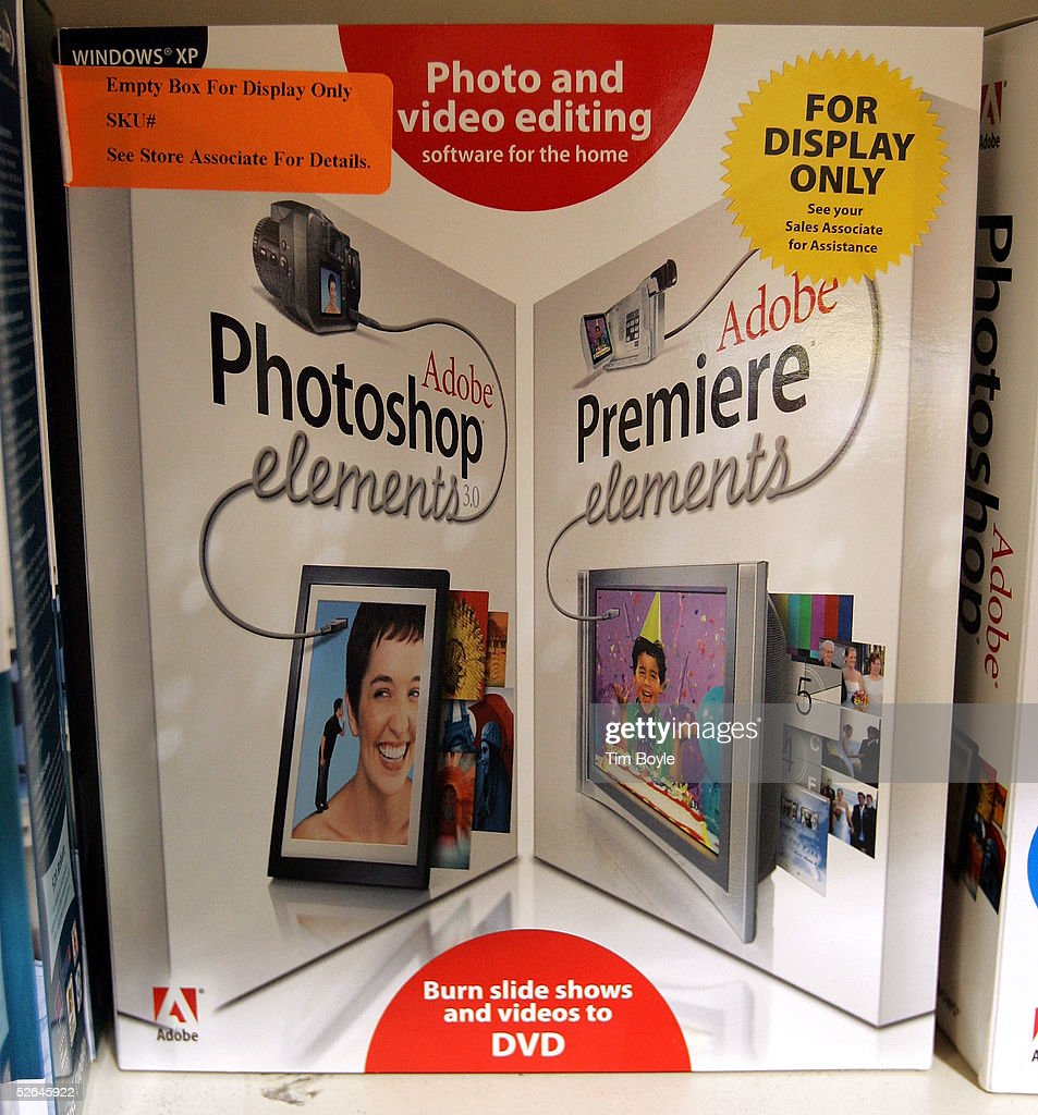 A dual Adobe Photoshop Elements/Adobe Premiere Elements software display box is seen in an office supply store April 18, 2005 in Niles, Illinois. In an all-stock transaction valued at approximately $3.4 billion, Adobe Systems has said it will acquire Macromedia, Inc.