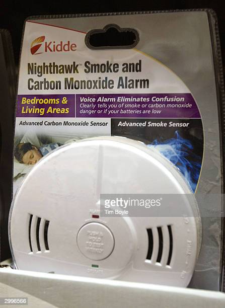 A dual Smoke and Carbon Monoxide alarm is displayed in a Home Depot store February 19 2004 in Mount Prospect Illinois United States Consumer Product...