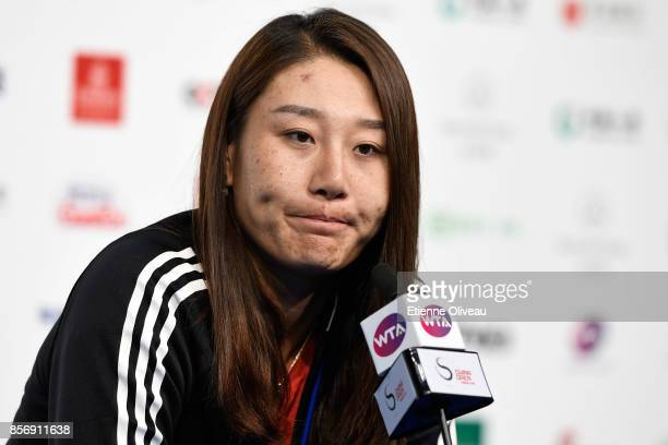 Duan Yingying of China attends a press conference after her defeat against Elena Vesnina of Russia on day four of the 2017 China Open at the China...