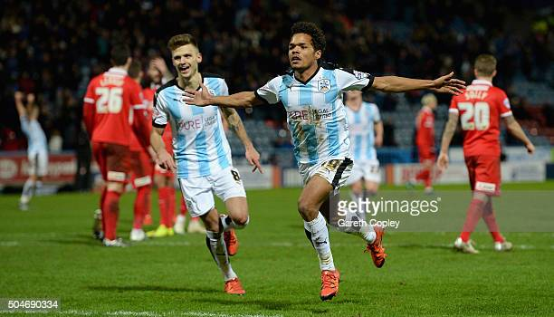 Duana Holmes of Huddersfield Town celebrates scoring his team's 4th goal during the Sky Bet Championship match between Huddersfield Town and Charlton...