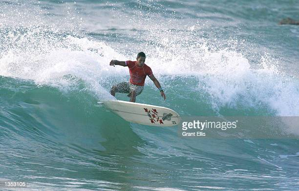 Duane DeSoto of Hawaii USA eliminated Leo Ranzoni of Italy to advance to round three of the Oxbow World Longboard Championships at La Rocca Cabo San...