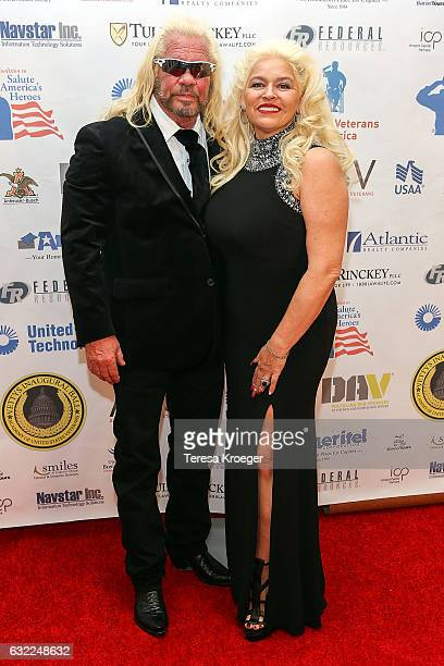 Duane 'Dog the Bounty Hunter' Chapman and Beth Chapman attend the Vettys Presidential Inaugural Ball at HayAdams Hotel on January 20 2017 in...