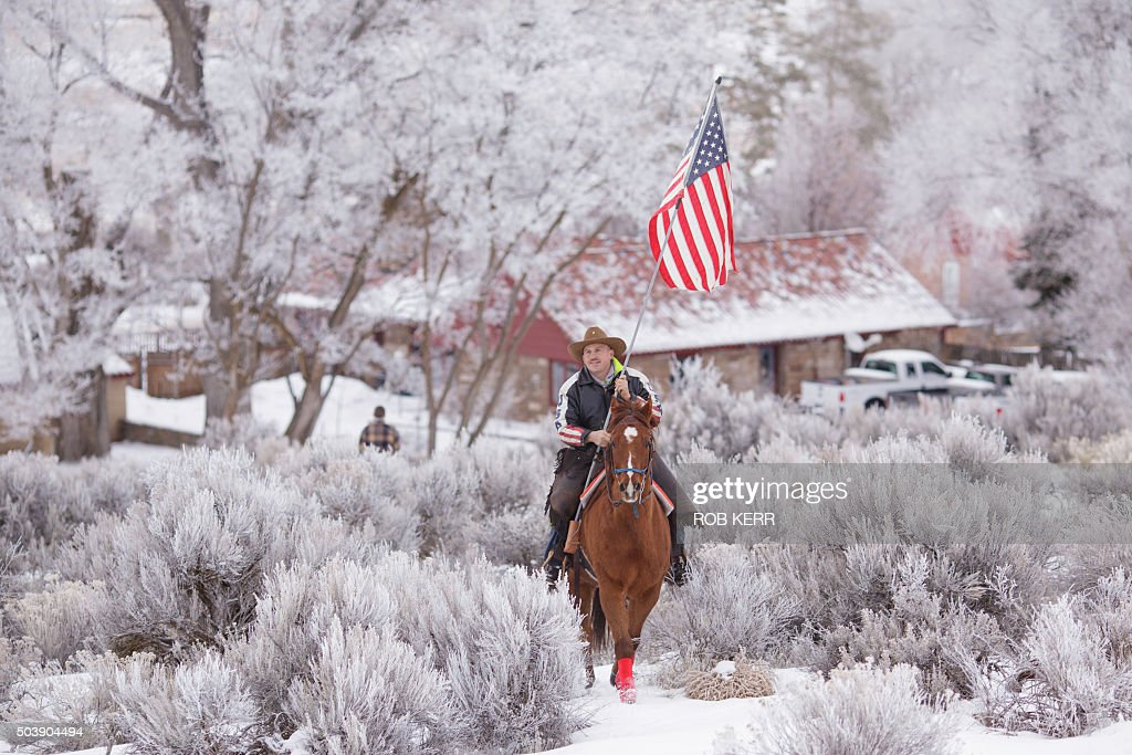 Duane Ehmer rides his horse Hellboy at the occupied Malheur National Wildlife Refuge on the sixth day of the occupation of the federal building in...