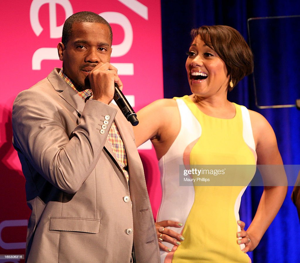 Duane Martin and Cynthia Kaye McWilliams onstage during BET Networks 2013 Los Angeles Upfront at Montage Beverly Hills on April 2, 2013 in Beverly Hills, California.