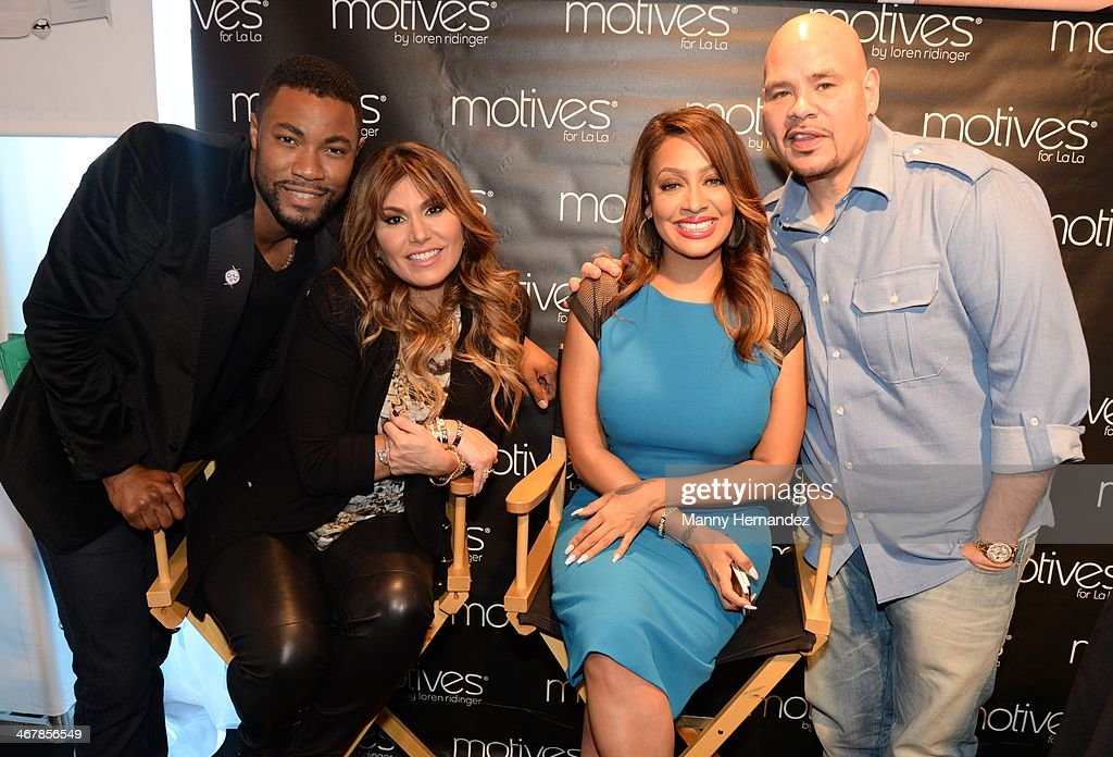 Duane McLaughlin, Loren Ridinger, Lala Anthony and Fat Joe at the 2014 Market America World Conference at American Airlines Arena on February 8, 2014 in Miami, Florida.