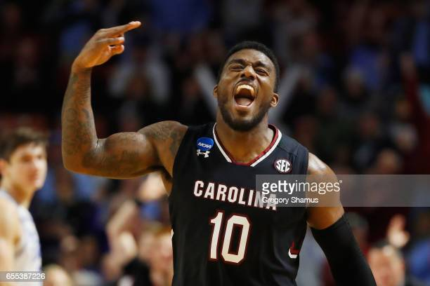 Duane Notice of the South Carolina Gamecocks reacts in the second half against the Duke Blue Devils during the second round of the 2017 NCAA Men's...