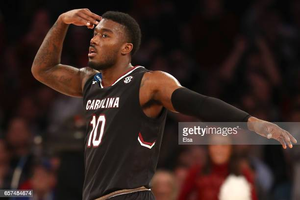 Duane Notice of the South Carolina Gamecocks reacts in the second half against the Baylor Bears during the 2017 NCAA Men's Basketball Tournament East...