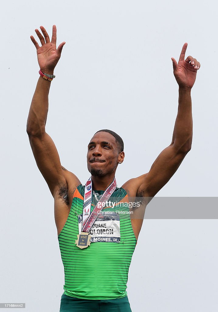 Duane Solomon Jr celebrates on the podium after winning the Men's 800 Meter Run final on day four of the 2013 USA Outdoor Track & Field Championships at Drake Stadium on June 23, 2013 in Des Moines, Iowa.