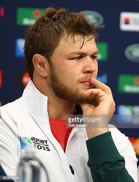 Duane Vermeulen during the South African national rugby team Captains Run and media conference at Twickenham Stadium on October 16 2015 in London...