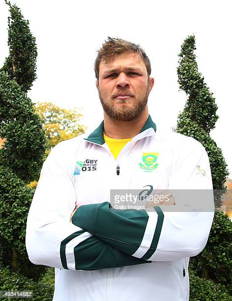 Duane Vermeulen during the South African national rugby team media briefing at Radisson Blu Edwardian Guildford on October 19 2015 in London England