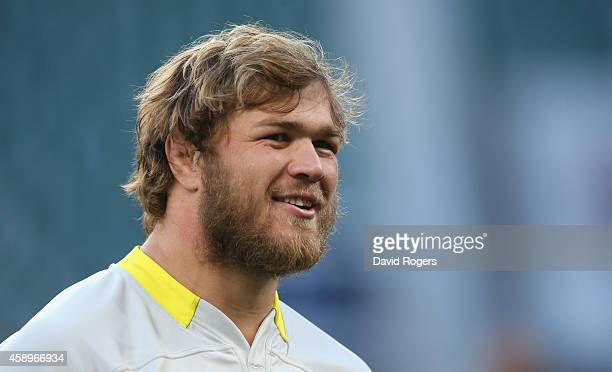 Duane Vermeulen looks on during the South Africa Springboks captain's run at Twickenham Stadium on November 14 2014 in London England