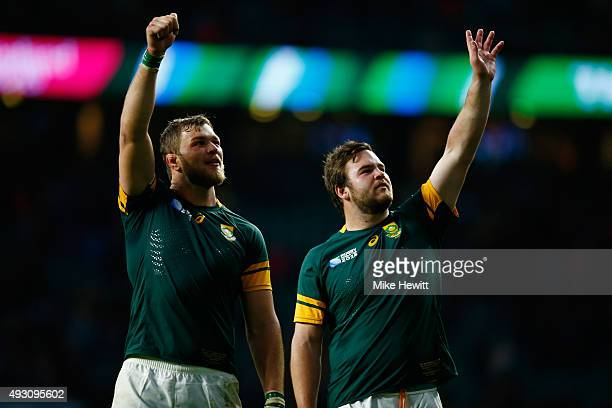 Duane Vermeulen of South Africa and Frans Malherbe of South Africa celebrate follwing their team's victory during the 2015 Rugby World Cup Quarter...