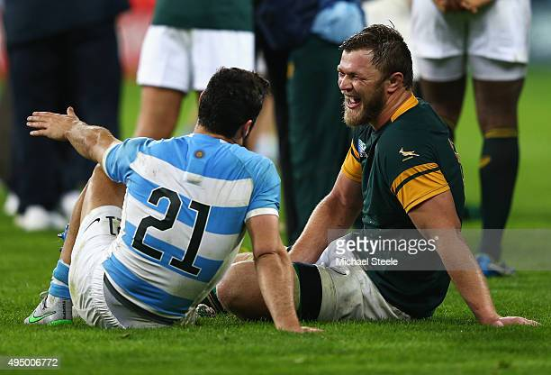Duane Vermeulen of South Africa and Martin Landajo of Argentina in discussion after the 2015 Rugby World Cup Bronze Final match between South Africa...