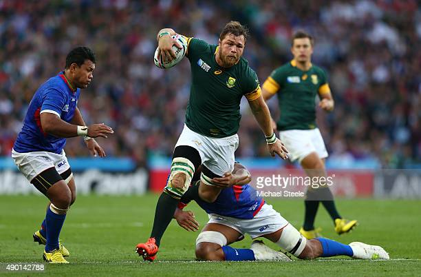 Duane Vermeulen of South Africa breaks during the 2015 Rugby World Cup Pool B match between South Africa and Samoa at Villa Park on September 26 2015...