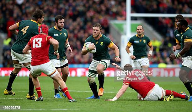 Duane Vermeulen of South Africa on the charge during the 2015 Rugby World Cup Quarter Final match between South Africa and Wales at Twickenham...