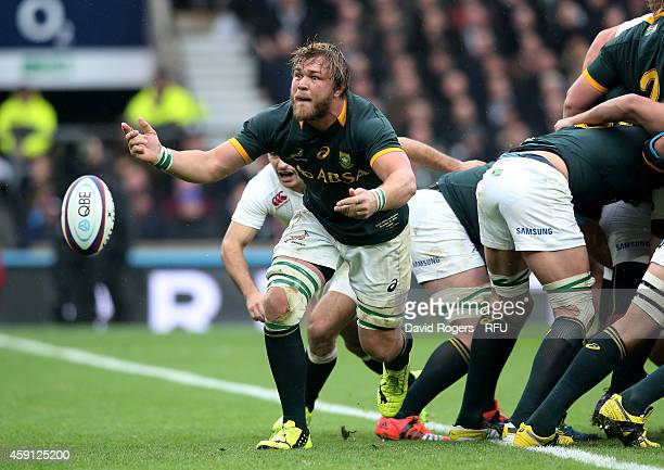 Duane Vermeulen of South Africa passes the ball during the QBE Intenational match between England and South Africa at Twickenham Stadium on November...
