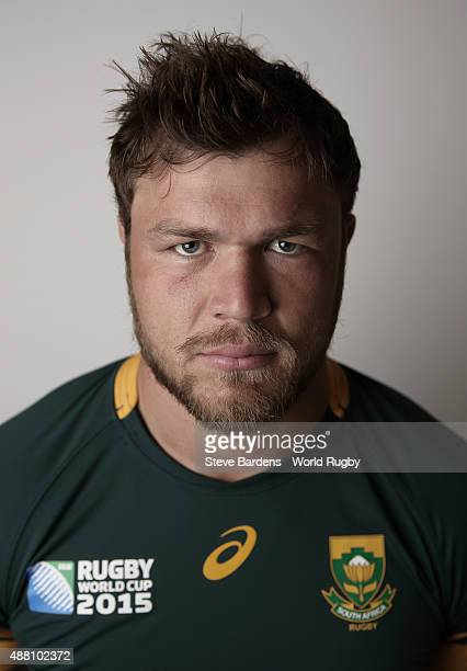 Duane Vermeulen of South Africa poses for a portrait during the South Africa Rugby World Cup 2015 squad photo call at the Grand Hotel on September 13...