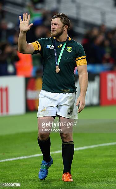 Duane Vermeulen of South Africa salutes the crowd after victory in the 2015 Rugby World Cup Bronze Final match between South Africa and Argentina at...
