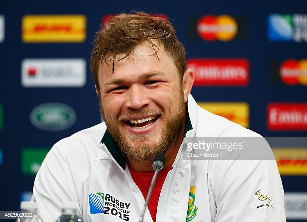 Duane Vermeulen of South Africa talks to the media during a Press Conference at Twickenham Stadium on October 16 2015 in London England