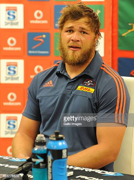 Duane Vermeulen of the Stormers is seen during the press conference after the Super Rugby match between Emirates Lions and DHL Stormers at Emirates...