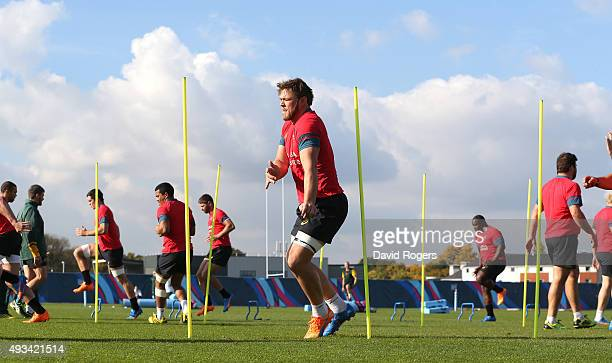 Duane Vermeulen runs through the slalom poles during the South Africa Springboks training session held at the Surrey Sports Park on October 20 2015...