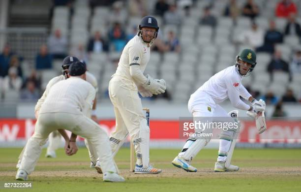 Duanne Olivier of South Africa is caught by Ben Stokes of England as England won the 4th Investec Test match between England and South Africa at Old...