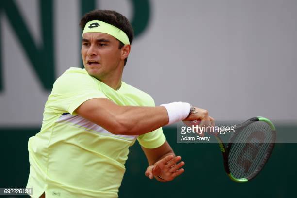 Duarte Vale of Portugal in action during the boys singles first round match against Patrick Kypson of The United States on day eight of the 2017...