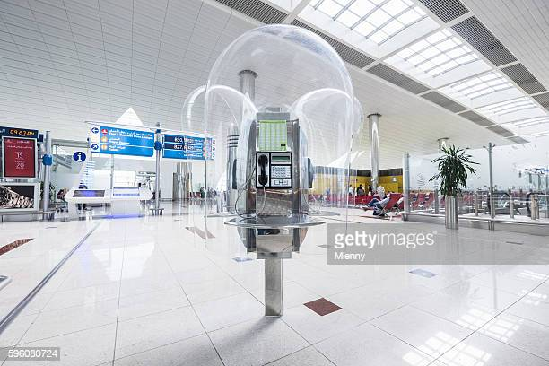 Dubai Airport DXB Public Pay Phone Booth at Departure Gates