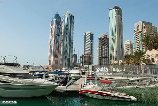 Dubai Arab emirates view of boats and skyscraper at Dubai Marina the 'new Dubai'