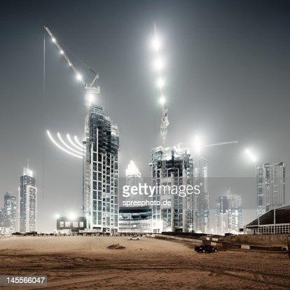 Dubai building yard at night