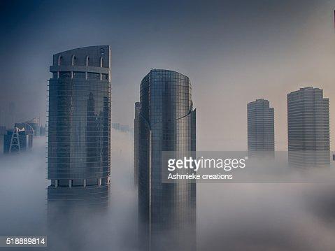 Dubai buildings in Cloud Fog