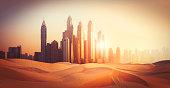 Dubai Marina in sunset light in the desert