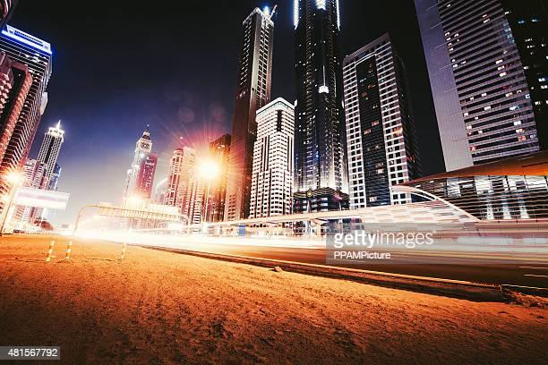 Dubai city nightshot with skyline