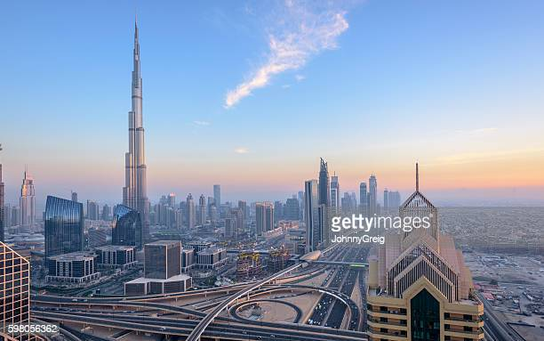 Dubai City Skyline Sunset