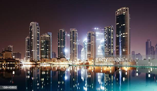 Dubai cityscape at night with Burj khalifa lake