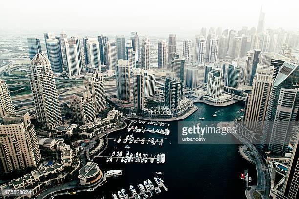 Dubai contemporary skyscrapers, harbourside cityscape, skyline. Marina, aerial view