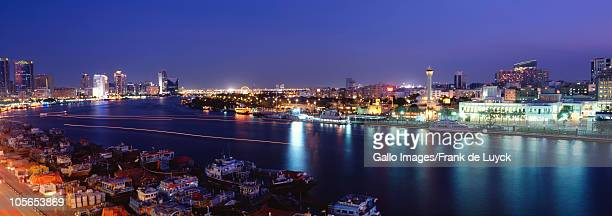 Dubai Creek as seen from Deira side at night, Dubai, United Arab Emirates