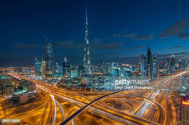 Dubai Downtown area with Burj Khalifa