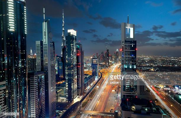 Dubai Downtown at night, long exposure