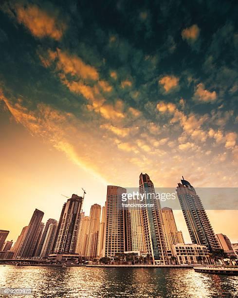 Dubai downtown skyline at dusk