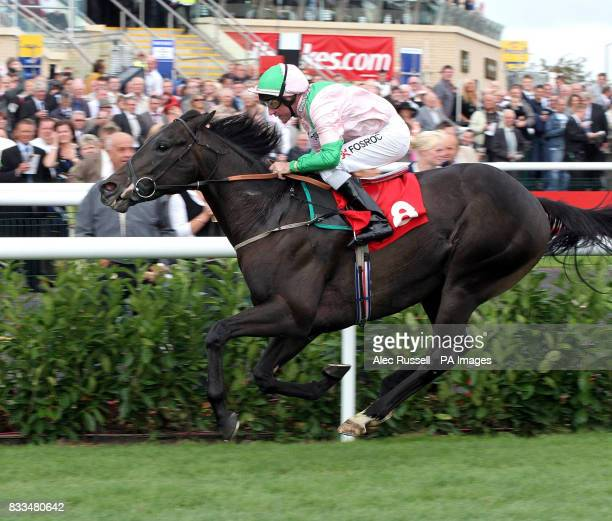 Dubai Dynamo riden by John Egan wins the Frank Whittle Partnership Nursery Handicap at Doncaster Racecourse