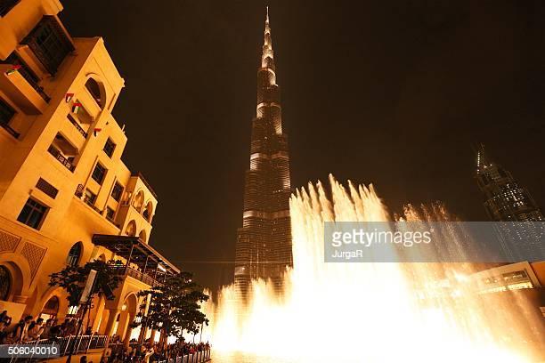 Fonte de Dubai à noite
